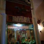 Fish tank in the middle of the restaurant,
