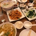 Congee, Shrimp dumplings, Baby Bok Choy, sweet chicken and Udon