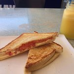 Rubber cheese and tomato toasted sandwich.