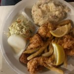 Small shrimp plate, mashed potatoes, fries, hush puppies, cole slaw