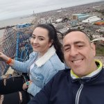 Dad and daughter selfie top of the big one