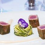 Tuna Fillet (capers and rosemary crispy crust, zucchini spagetti, garlic cream)