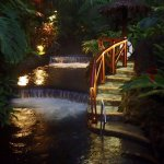 Romantic pools and falls in the evening.