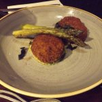 lobster and crab fish cakes with asparagus spears
