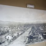 At Springs Preserve Railway Depot and black and white photo of the Fremont Street area of Las Ve