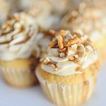 Salted Caramel Pretzel is the shop signature cupcake. Available everyday.