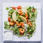 Avocado and tiger prawn salad