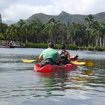 You paddle your Kayak a little over 4 miles each way, but it's easy and fun.