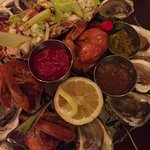 Seafood tier with lobster, shrimp and oysters