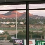 Peach colored hills at sunset looking south from Turf Club