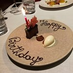 Beautiful touch to his birthday meal.