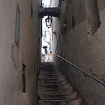 Stairs up to La Perla off busy route through Amalfi