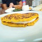 Cachapa (sweet corn pancake stuffed with Venezuelan cheese)