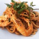 Pasta with prawns. Delicious!
