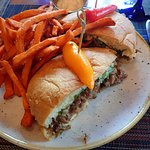 Steak sandwich with sweet potato fries