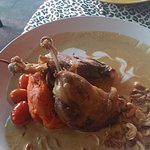 duck leg curry dish with sweet potatoes mash