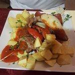 Beef in tomato sauce skewrer