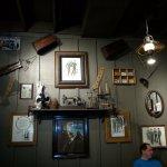 Memorabilia mounted on walls present a vintage look