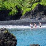 Black beach along the Road to Hana