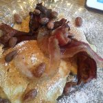 Pancakes with bacon and pecans