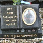 The memorial is for a fallen Sapper of 59 Independant Commando Squadron Royal Engineers