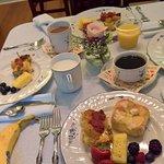 Wonderful breakfast! Kolaches, fresh cassorole, and lovely fruit.