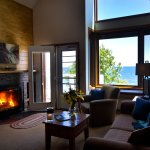 Living Room with vaulted ceiling & Lake Superior Views