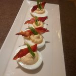 devilishly good deviled eggs with candied bacon