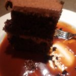 my mile high chocolate cake with warm salted caramel sauce