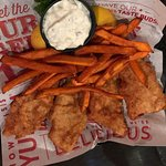 Fish and Chips with endless fried option. Sweet potato fries were good!