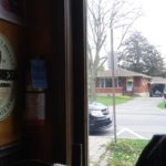 View from inside showing the horse and buggy passsing by