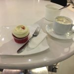 red velvet cake and ginger tea