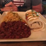Chicken burrito, beans and rice