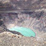 sulfur lake in crater
