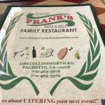 Menu cover for Frank's Family Restaurant