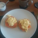 Breakfast bagels with smoked salmon and scrambled eggs