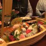 Sushi,sashimi and rolls served in the boat!