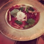 beef carpaccio with poached egg