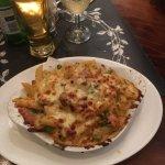 Main 1 - Pasta Al Forno (penne, mushrooms, peas, ham, cheese)