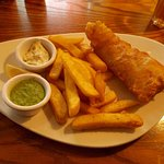 Fish n chips, mushy peas, and tartare sauce.