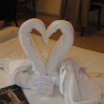 The housekeeping staff left wonderful towel art everyday and notes in Englsh.