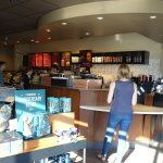 This is an inside shot of the Starbucks.