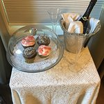 Delicious homemade cupcakes and local Champagne as part of the Romance package for our stay.