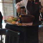 Preparing the Cesar Salad