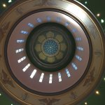 Looking up into the dome of the capital building of the state of Oregon in Salem.