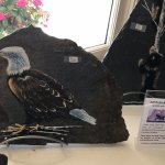 Eagle painted on stone on display and for sale at Butlers at the Mansion, 292 Crescent Rd E, QB,
