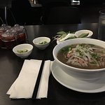 Pho with lean beef, meatballs, and two types of green onions