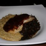 Barbeque swordfish and grits with collards, tastes better than it looks.