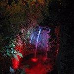 Illuminated waterfalls.