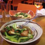 Crispy fried pork belly with Asian greens, very tasteful and yummy Green Curry Chicken.